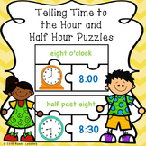 1st Grade Telling Time to the Hour & Telling Time to the Half Hour Puzzle 1.MD.3