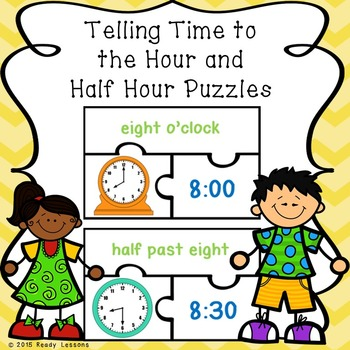 1st Grade Telling Time to the Hour and Half Hours Game Puzzles 1.MD.3