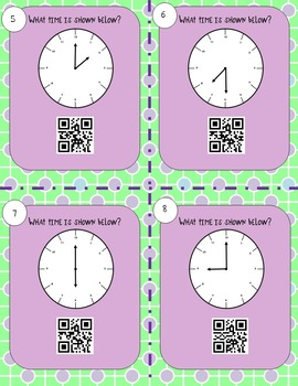 Telling Time to the Hour and Half Hour--QR Codes!