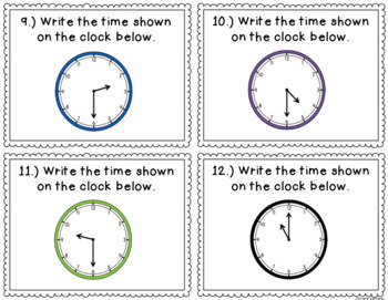 Telling Time to the Hour and Half Hour Task Cards