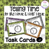 Telling Time to the Hour and Half Hour Task Cards - Hallow