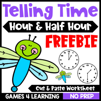 Telling Time to the Hour and Half Hour Worksheet: Free Time Cut and Paste