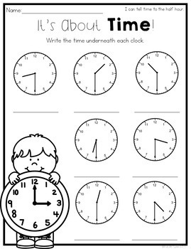 Telling Time to the Hour and Half-Hour Worksheets by ...
