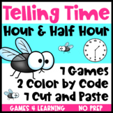 Telling Time to the Hour and Half Hour Games, Cut and Paste, Color by Code