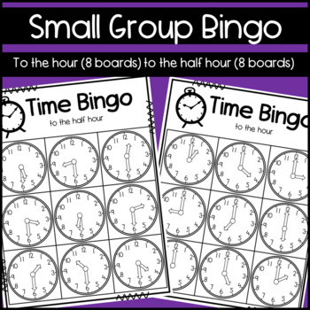 Telling Time to the Hour and Half-hour: Board game, Bingo and Puzzles