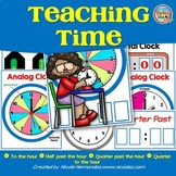 Teaching Time - Telling Time on Analog and Digital Clocks Posters and Cards