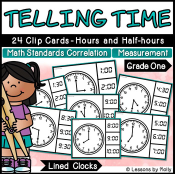 Telling Time to the Hours and Half-hours with Analog Clocks {Lined}
