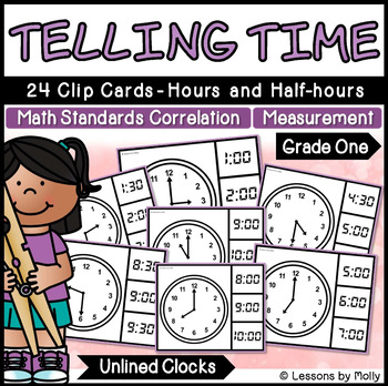 Telling Time to the Hours and Half-hours with Analog Clocks {Unlined}