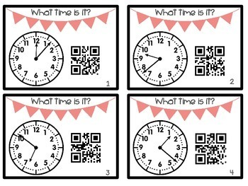 Telling Time to the Minute Task Cards with QR Codes