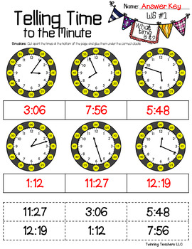 Telling Time to the Minute - Cut & Paste