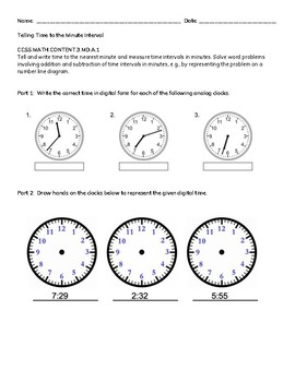 Telling Time to the Minute Interval