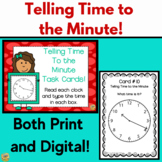 Telling Time to the Minute - Task Cards SCOOT Game!  Print and Digital
