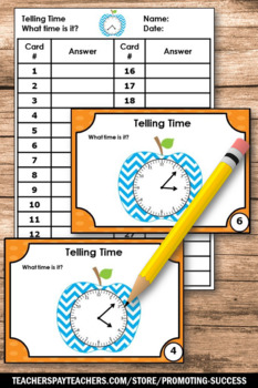 Telling Time to the Minute Task Cards, 3rd Grade Math Review Games SCOOT