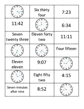 Telling Time to the Minute Sort