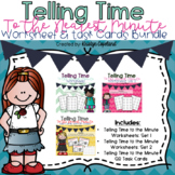 Telling Time to the Minute Worksheet & Task Card Bundle