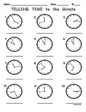 Telling Time to the Minute Worksheet