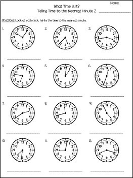 Telling Time to the Minute Worksheets
