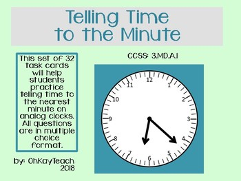 Telling Time to the Minute - multiple choice task cards