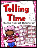 Telling Time to the Nearest 15 Minutes Game - Valentine's Day