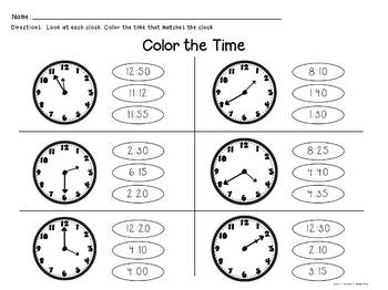 Telling Time to the Nearest 5 Minutes - 32 Task Cards & 10 Activity Pages