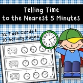 Telling Time to the Nearest 5 Minutes - 32 Task Cards & 10