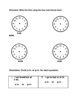 Telling Time to the Nearest 5 Minutes Assessment