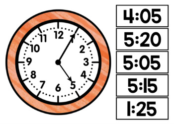 Telling Time to the Nearest 5 Minutes (Boom! Deck)