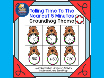 telling time to the nearest 5 minutes groundhog theme lifesaver activity. Black Bedroom Furniture Sets. Home Design Ideas