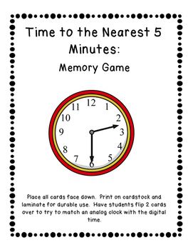 Telling Time to the Nearest 5 Minutes Memory Game