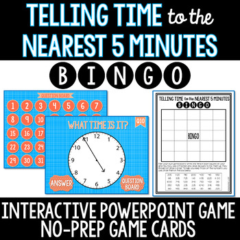 Telling Time to the Nearest 5 Minutes NO PREP Interactive Whiteboard BINGO Game