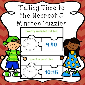 Telling Time to 5 Minutes Game Puzzles 2.MD.7