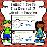 Telling Time to Nearest 5 Minute Puzzles Tell Time to 5 Minutes 2nd Grade 2.MD.7