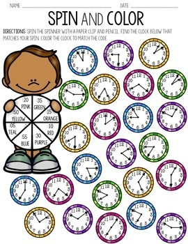 Telling Time to the Nearest 5 Minutes Spin & Color