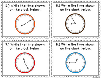 telling time to the nearest 5 minutes task cards by kristin kennedy. Black Bedroom Furniture Sets. Home Design Ideas