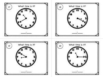 Telling Time to the Nearest 5 Minutes Task Cards for Centers or SCOOT