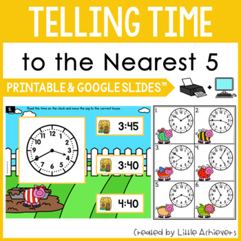 Telling Time to the Nearest 5 Minutes - Telling Time Task Cards