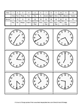 Telling Time to the Nearest 5 Minutes - Write it Out