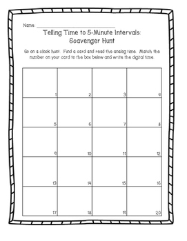 Telling Time to the Nearest 5 Minutes Write the Room Activity