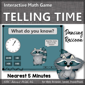 Telling Time to the Nearest 5 minutes Interactive Math Game {Dancing Raccoon}