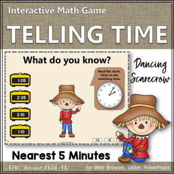 Telling Time to the Nearest 5 Minutes Interactive Math Game {Dancing Scarecrow}