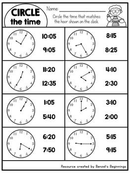 Telling Time to the Nearest 5 minutes NO PREP Printables