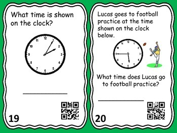 Telling Time to the Nearest 5 minutes Task Cards with QR Codes-