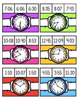 Telling Time to the Nearest Five Minutes Clip Cards