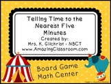 Telling Time to the Nearest Five Minutes Math Board Game Center