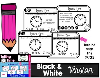 Telling Time to the Nearest Five Minutes Task Cards - 2nd Grade