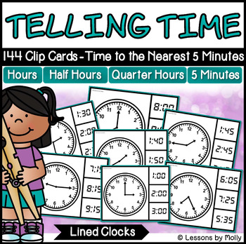 Telling Time to the Nearest Five Minutes with Analog Clocks {Lined}