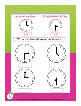 Telling Time to the Nearest Half Hour - Student Practice Book B