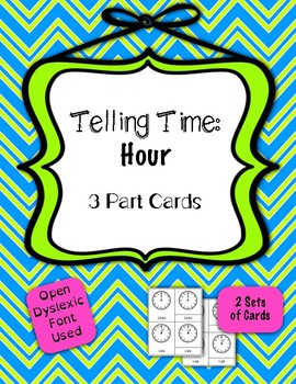 Telling Time to the Nearest Hour - 3 Part Self-correcting Cards {Differentiated}
