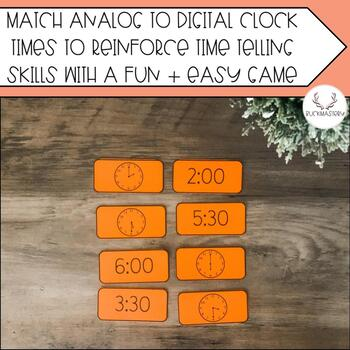 Telling Time to the Nearest Hour + Half Hour Matching Game