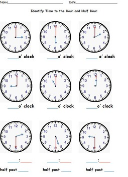 Telling Time to the Nearest Hour, Half Hour, Quarter Hour, Five Minutes